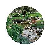 Rutschfreies Gummi-Rundmaus-Pad Landdekor Garten und Teich in der asiatischen Blumenströmung Wild Flowers Bushes Stones Landscape 7.9'x7.9'x3MM