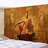 KHKJ Estatua de Buda Indio, Tapiz de meditación, Tapiz de Mandala para Colgar en la Pared, tapices de Tela, Alfombra de Yoga, decoración Boho A5 150x130cm