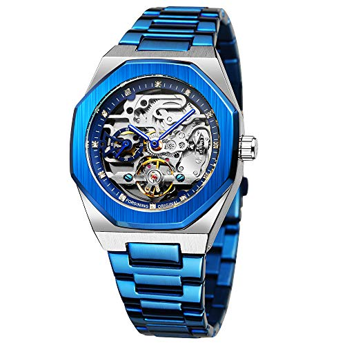 Mechanical Mens Watches Fashion Automatic Male Clock Blue Stainless Steel Waterproof Business Skeleton Watch