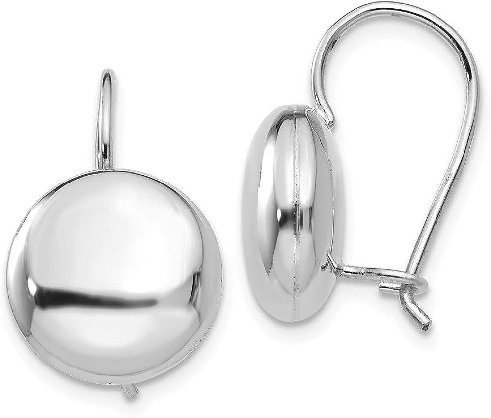 14k White Gold 12mm Button Kidney Wire Studs Earrings 12mm