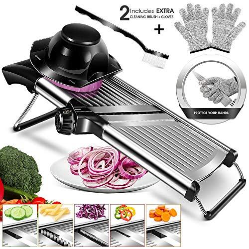 MASTERTOP Mandoline Edelstahl Hobel 5 in 1 Gemüseschneider mit Handschuhe und Reinigungsbürste, Edelstahl Gemüsehobel mit Verstellbar klingen für Gemüse und Obst, scheiben, Streifen, reibe