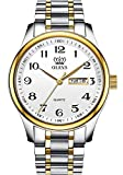 Mens Watches Analog Stainless Stee Gold and Silver Dress Watches White Faced Day Date Easy Read Dial Waterproof Watches for Seniors Classic Quartz OLEVS Wrist Watches for Male