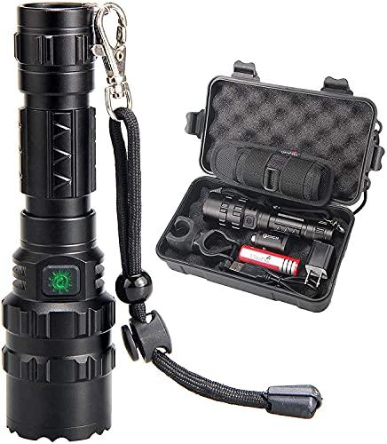 ULTRAFIRE USB Recargable Linterna Táctica LED 1000 Lúmenes 5 Modos, Batería Recargable 18650 3.7V 2600mAh, Cargador de coche, con Funda de Linterna, Soporte Montaje, Mini Linterna Portátil Impermeable