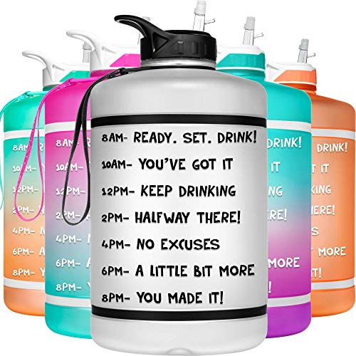 HydroMATE 1 Gallon Motivational Water Bottle with Time Marker Large BPA Free Jug with Straw and Handle Reusable Leak Proof...
