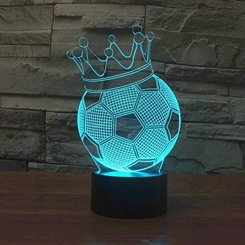 jiushixw 3D Acryl Nachtlicht mit ferngesteuertem Farbwechsel Tischlampe Lampenbefestigung Fußball Neuheit Licht Siebenfarbwechsel Stereolicht Atmosphärenlicht Heimtextilien