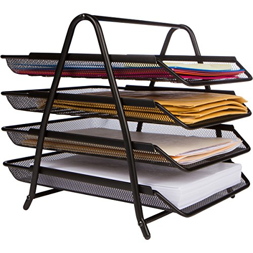 Price comparison product image 4-Letter Tray Office Desk Organizer,  Black