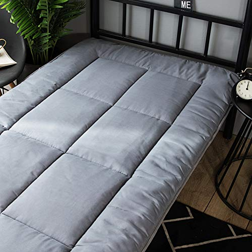LoveHouse Futon Mattress Topper, Soft Thick Tatami Bed Mattress Quilted Sleeping Floor Mat Foldable Guest Bed Student Dormitory Mattress-Grey 90x190cm(35x75inch)