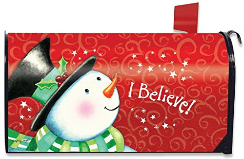"""I Believe"" Christmas Snowman Magnetic Mailbox Cover"