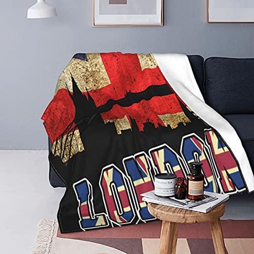 Fleecedecke mit britischer Flagge & Londoner Brücke, vielseitig verwendbar, flauschig, weich, Überwurf für Bett & Couch, für Einzelbett, 152,4 x 127,7 cm