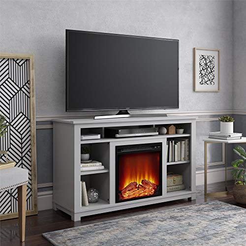 """Ameriwood Home Edgewood Fireplace 55"""", Dove Gray TV Stand,"""
