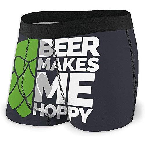 Bier Macht Mich hopfig Mens Boxer Briefs Unterwäsche für Männer Polyester Spandex Quick Dry Größe L