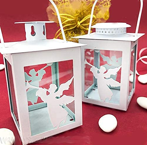 Wholesale and Saving White Metal Lantern Candles, Also with LED, with Musical Angel Shape, Party Favors Baptism Male Female E1T12392 - CON LED (A) No Confezione