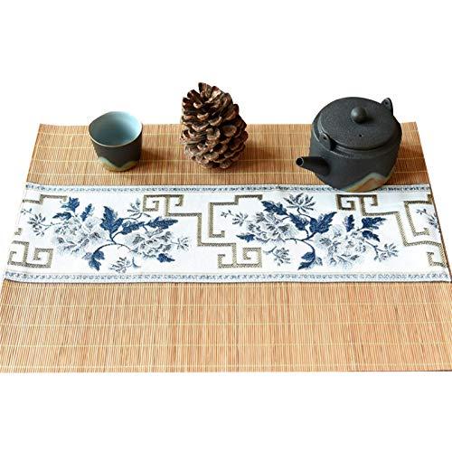 TTOOY Mantel Individual de bambú Natural, tapete de Tela Bordado para Mesa de Centro en casa, Accesorios de Camino de Mesa de Estilo étnico, Aislante térmico/Antideslizante/Lavable, 30 v