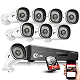XVIM 8CH 1080P Home Security Camera System with 2TB Hard Drive Outdoor IP66 Waterproof CCTV Recorder 8pcs HD 1920TVL Upgrade Home Surveillance Cameras with Night Vision, Easy Remote Access