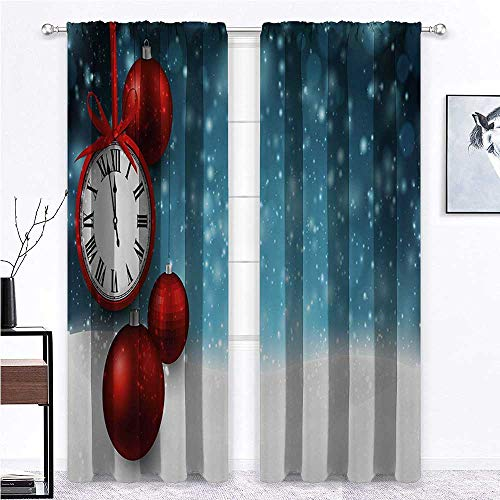 Clock Black Out Window Curtain New Year Themed Christmas Balls and a Vintage Clock Background with Snowflakes Thermal Insulated Room Darkening Curtains Red and Blue - 36' x 84' , 2 Rod Pocket Panels