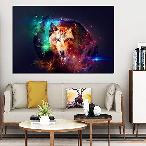 ganlanshu Rahmenlose Malerei Bunte Wolf und Sterne Leinwand Kunst Wandplakat Wohnzimmer Tierkunst BilddekorationCGQ8693 60X90cm