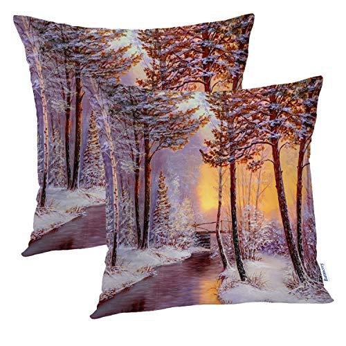 Batmerry Bunte dekorative Kissenbezüge 45,7 x 45,7 cm, 2 Stück, Winterlandschaft mit Flussbrücke, Ölgemälde, doppelseitig, quadratisch, Überwurf-Kissenbezüge für Sofa, dekorativer Kissenbezug