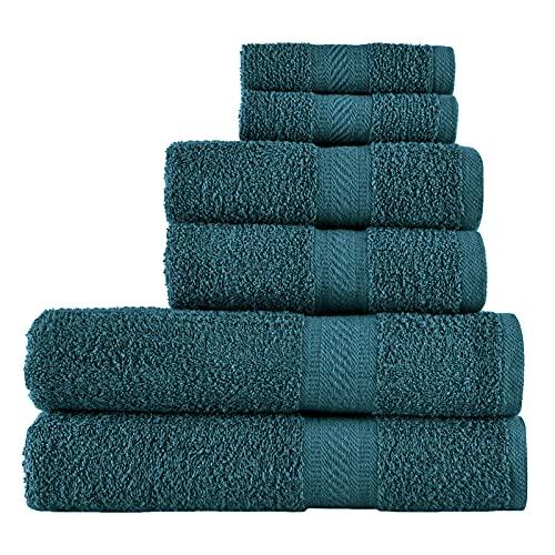 SweetNeedle - Uso diario Juego de toallas de 6 piezas, Teal - 2 toallas de baño 70x140 CM, 2 toallas de mano 50x90 CM, 2 paño de lavado 30x30 CM - Algodón 100% ringings, peso pesado y absorbente
