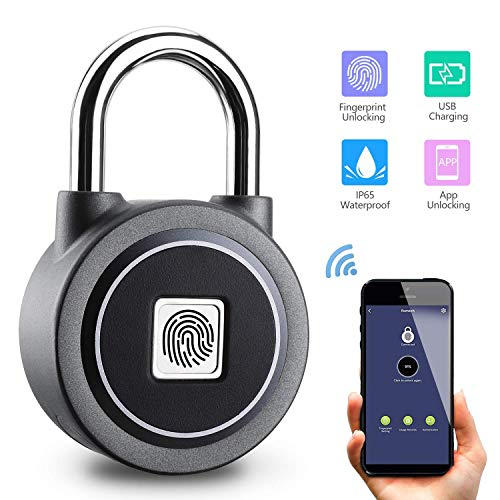 Fingerprint Padlock Thumbprint Bluetooth Lock USB Rechargeable IP65 Waterproof Ideal for Locker,...