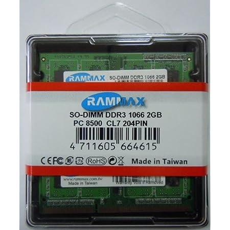 RamMax 2GBメモリ 2枚組 DDR3 1066 2GBX2 RM-SD1066-D4GB DUAL 204pin DDR3-SO-DIMM DIMM ノート パソコン用 増設メモリ 4GB デュアル