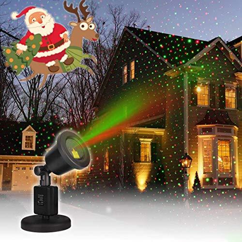 CAMTOA Christmas Laser Light, IP65 Waterproof Red & Green Laser Light - Outdoor Star Projector Landscape Projector, Red and Green Star Show for Christmas, Holiday, Parties, Landscape and Garden Decor