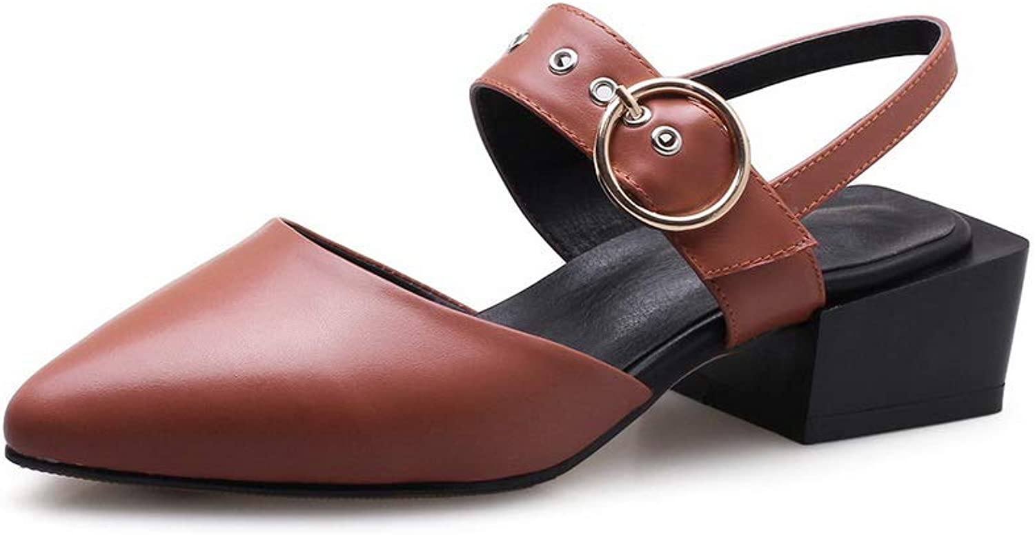 AdeeSu Womens Buckle Chunky Heels Pointed-Toe Cow Leather Pumps shoes SLC04334