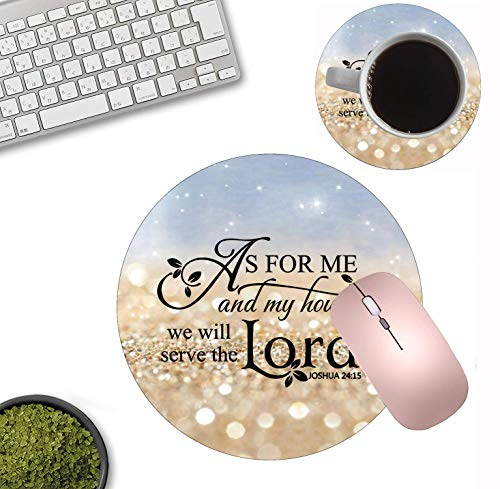 BWOOLL Round Mouse Pad and Coasters Set, Rainbow Glitter Mouse Pad, Quote Christian Bible Verses Joshua 24:15 Mouse Pad, Non-Slip Rubber Base Mouse Pads for Laptop and Computer Photo #2