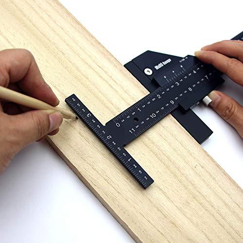KKmoon Righello Multifunzionale in Legno Righelli a Forma di T in Lega di Alluminio Scriber per Legno Strumenti Fai-da-te Misura 0-128 mm