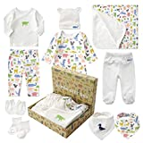 Neugeborenen Set Baby Erstausstattung Erstlingsausstattung Ausstattung Kleidung Badezimmer Geschenkeset Babyausstattung mit 10 Teilen für Kleinkinder Junge Mädchen