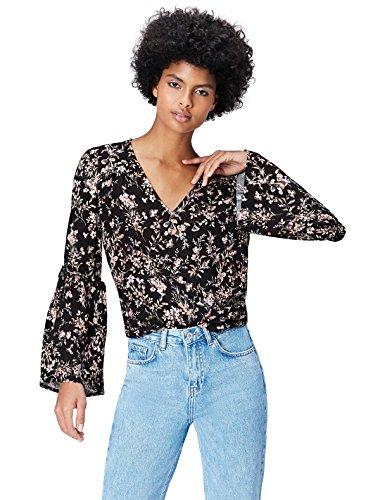 find. Bluse Damen mit Glockenärmeln, Blumenmuster und tiefem V-Ausschnitt, Schwarz (Black Mix), 40 (Herstellergröße: Large)
