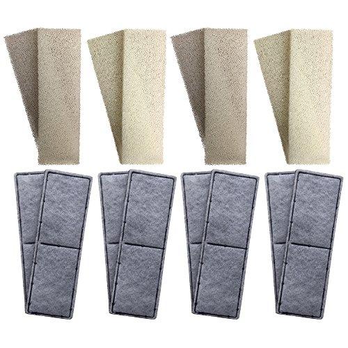 8 cartuchos compatibles de espuma y 8 cartuchos de filtro de carbono de policarbonato compatibles para filtro interno Fluval U3