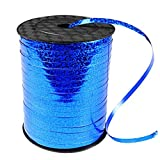 500 Yards Blue Crimped Curling Ribbon Shiny Metallic Balloon String Roll Gift Wrapping Ribbon for Party Festival Art Craft Decor Florist Flowers Decoration