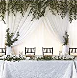 White Backdrop Curtain Drapes for Wedding Decorations 9.8ft by 8ft Long Soft Chiffon Fabric Drape for Wedding Party Arch Stage Decoration