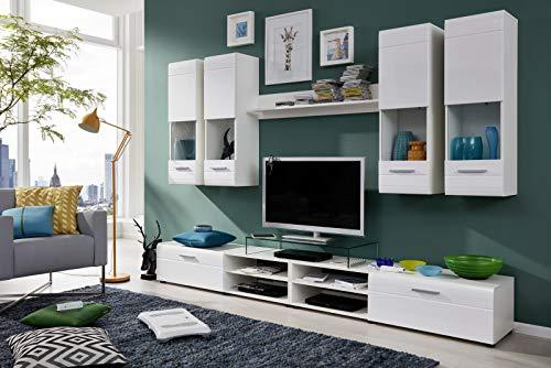 Anbauwand Lunas Weiß Hochglanz Weiß Dekor 6-teilig MDF Glas Schrankwand Wohnwand