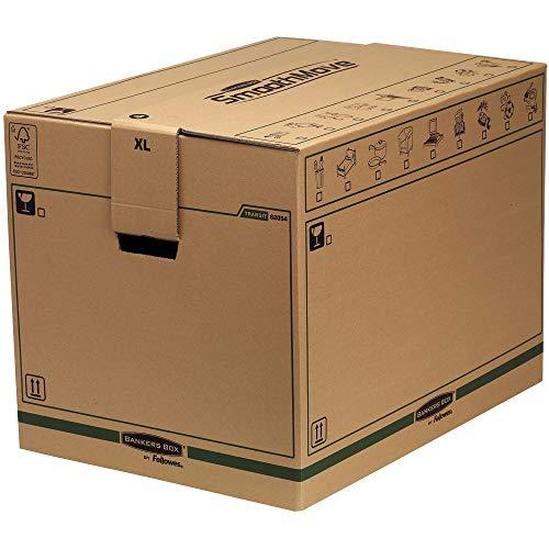Bankers Box Caisses de Déménagement, Carton Double Epaisseur pour Usage Intensif SmoothMove avec Poignées-Montage sans Adhésif, Système d'Assamblage Automatique FastFold, 127 ltr, (Paquet de 5)