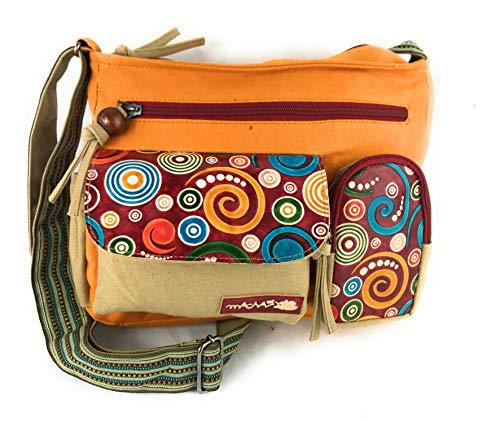 Macha Sac en coton et inserts en cuir avec imprimés...