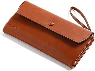 Micropromo Rfid Womens Large Capacity Luxury Waxed Genuine Leather Clutch Wallet Multi Card Organizer Zipper Purse