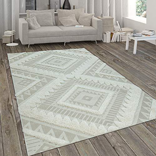 Paco Home Tapis Intérieur & Extérieur, Tissage Plat avec Poils Longs en Relief, Motif Ethnique Beige, Dimension:80x150 cm