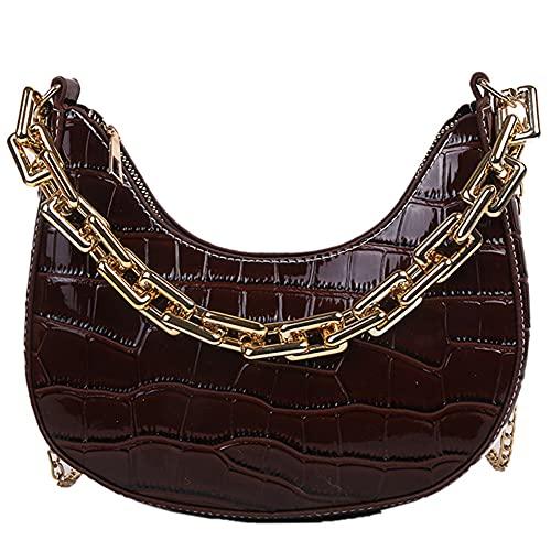 Vintage cocodrilo patrón pu cuero cadena hombro Crossbody Messenger bolso casual señoras color puro pequeño Hobos bolsos Satchel barco bolsa bolsa bolsa Satchel