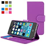 Snugg iPhone 5 / 5s Case - Purple Leather iPhone 5/5s Flip Case Premium Wallet Phone Cover with Card Slots for Apple iPhone 5 / 5s
