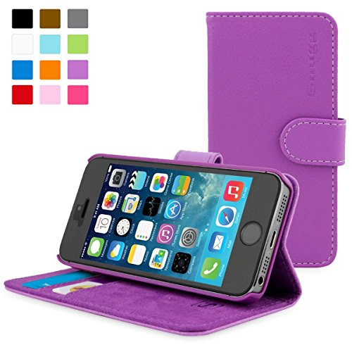 Snugg Schutzhülle für iPhone 5 / 5S – Etui aus Leder mit Kartenschlitzen & Ständer – Legacy-Kollektion, Flipcase, Handyhülle in Violett