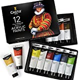 Castle Art Supplies 12 Large Acrylic 75ml Paint Tubes Set for Adults Kids Artists Students | Ideal for Canvas Wood Ceramic Fabric and Nail Art