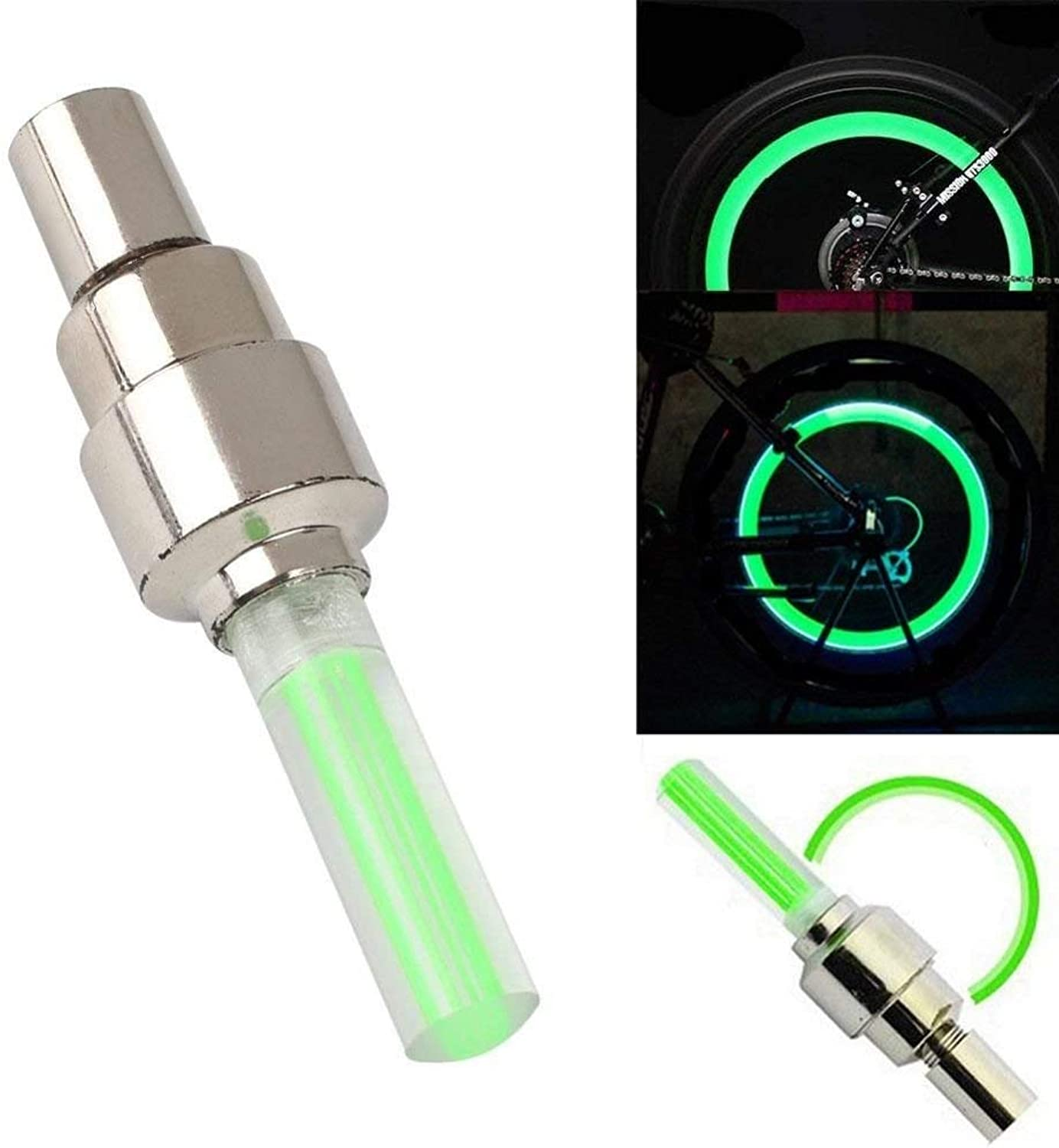 BikeX (4Pack) LED Motion Activated Bike Bicycle Wheel Valve Stem Cap Tire Light (Green (Glows Green))