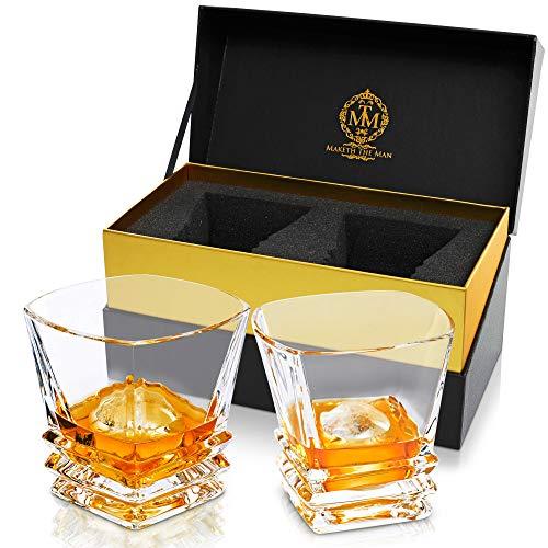 Premium Art Deco Whiskey Glass Set. 10oz Bourbon Glasses In Stylish Gift Box. Genuine Lead Free Crystal Scotch Glasses Designed In Europe. 2 Double Old Fashioned Rocks Glasses