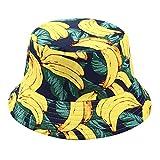 TENDYCOCO Sombrero del Cubo del Estampado de plátanos Empaquetado Reversible Sombrero de Pesca Gorro de Pescador de Verano Gorro del Cubo Hawaiano