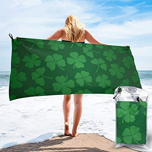 St. Patrick's Day Vector Background with Shamrock Beach Towel Ultra Absorbent Bath Towel with Carry Bag for Travel Sports Camping Beach-27.5'x55'