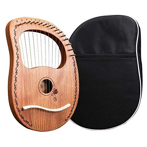 cypressen Harfen 16-saitige hölzerne Lyra-Harfe Metallsaiten Mahagoni-Holzrückenplatte Laugen-Harfen-Saiteninstrument mit Harfen-Tasche