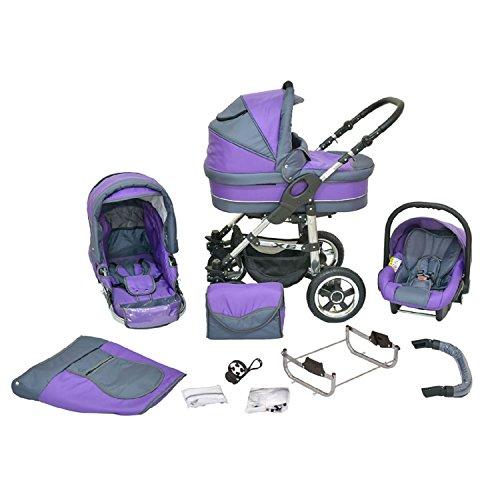 Kombi Kinderwagen Premium 3 in 1 - Kombikinderwagen Buggy graphit-lila