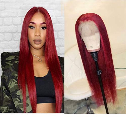 Wicca Hair Red Color Natural Looking Lace Front Wigs for Fashion Women Long Straight 130% Density Brazilian Remy Human Hair Glueless Pre Plucked Full Lace Wig with Baby Hair (10 Inch, Lace Front Wig)