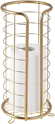 mDesign Decorative Metal Free Standing Toilet Paper Holder Stand with Storage for 3 Rolls of Toilet Tissue - for Bath...